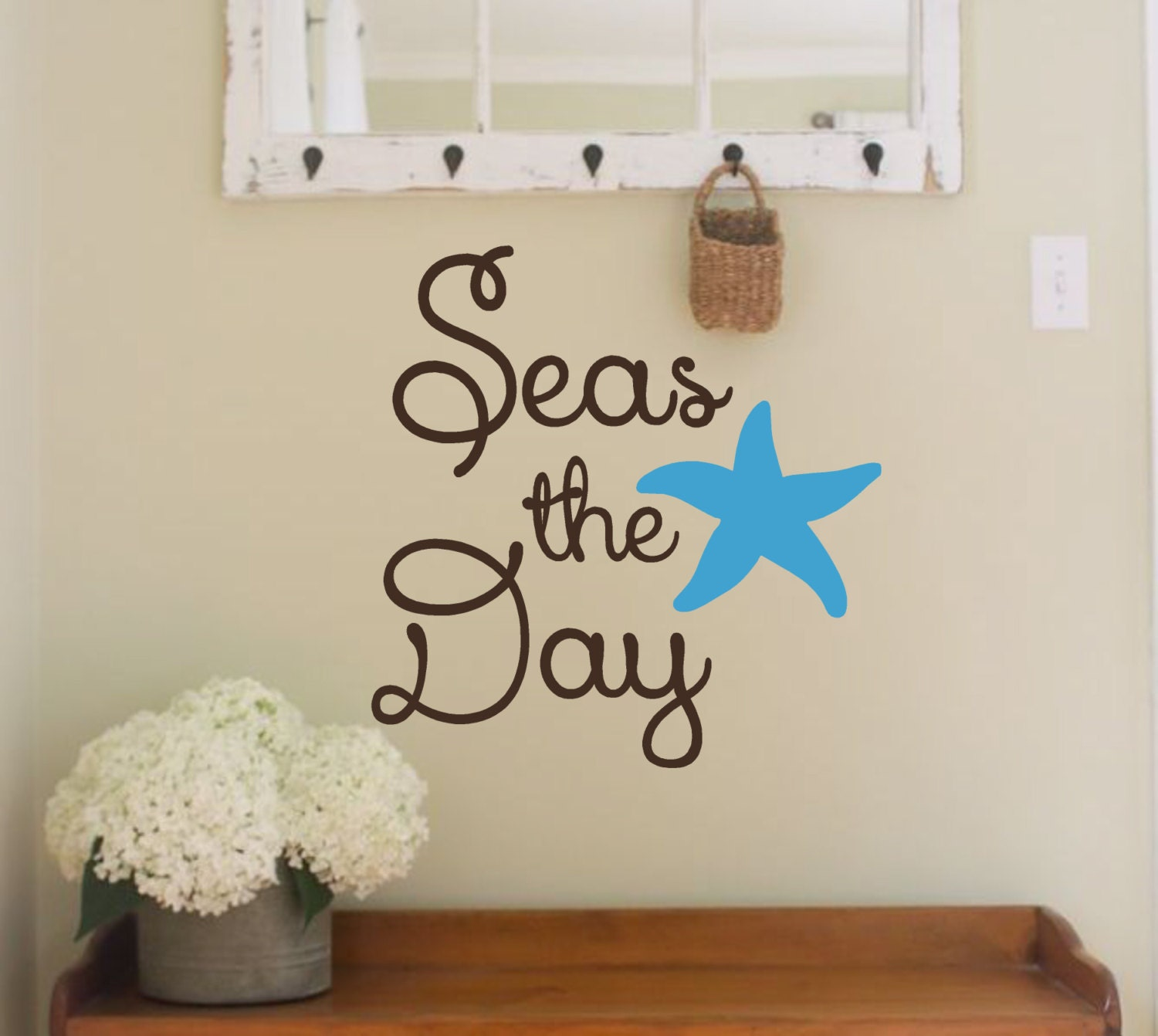 Vinyl Wall Decal Seas The DayBeach Themed Nautical Beach - Wall decals beach quotes
