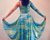 Belly Dance costume, two pieces costume, dance costume with asymmetric top and asymmetric skirt, lesson costume - EBRU
