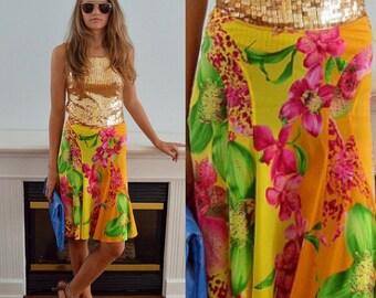 Versace Floral Skirt, Vintage Floral Skirt,  Versace, Short Skirt, Summer Skirt, Vintage Skirt, Skirt, Designer Skirt