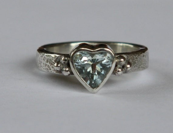 Hand Forged Heart Cut 1.15 ct Light Blue Aquamarine Granulated Bead Argentium Sterling Silver Ring SZ 6.5