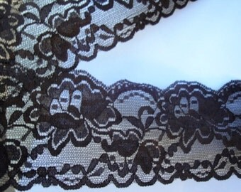 """2 Yards of 3.25"""" Wide Espresso Chocolate Brown Coffee Hand Dyed Lace Stretch Lace Scalloped Lingerie Lace Headband Hair Accessories S124"""