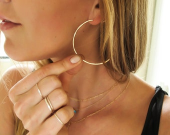 "Gold Hoop Earrings - Thin Gold Hoops - Hammered Gold Fill or Sterling Silver Hoops - 2"" Large Hoops - Rose Gold Hoops - Straight Through"