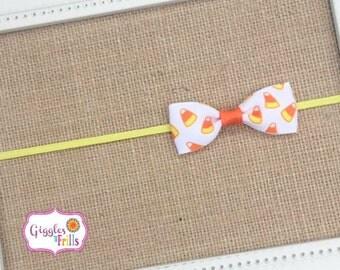 Candy Corn Baby Headband, Halloween Headband, Candy Corn Headband, Orange Yellow and White Baby Headband, Toddler Headband, Halloween Bows