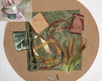Bonnet Kit- DIY- Olive Green and Brown- Regency, Georgian, Jane Austen Era Bonnet