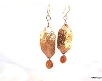 Hammered copper earrings, shield shape copper earrings with copper agates, boho chic dangle earrings, gift under 40