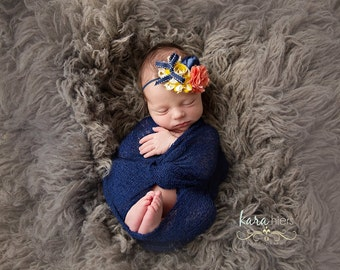 Sunset to Dusk- coral mustard and navy chiffon and bloom with bow headband