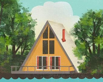 A Frame Cabin Print