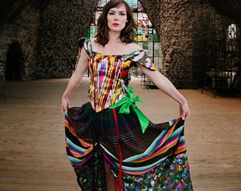 Stained Glass Parachute Skirt Size Small-Medium Ribbons