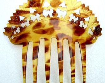 Antique Hair Comb, Faux Tortoiseshell Hair Accessory, Decorative Comb, Hair Jewelry, Headdress, Headpiece, Hair Ornament