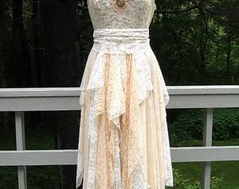 Vanilla champagne bohemian boho gypsy hippie wedding dress formal dress reception dress, lace, US size 14, 38-40 inch bust