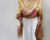 Hand-Painted SILK SHAWL WRAP Special Occasion, Wedding Shawl, Pink Roses Mocha,Chocolate, Gold ascents