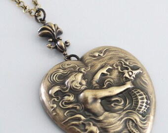 Mermaid Necklace - Vintage Necklace - Heart Necklace - Fantasy Jewelry - Chloes Vintage Brass jewelry - Vintage Necklace - handmade jewelry