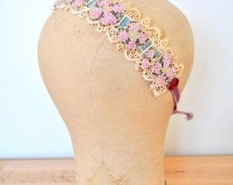 Vintage inspired lace headband/Vintage lace/Velvet ribbon/Beaded flowers/Flapper style/Pastel pink/Metallic ribbon rosettes