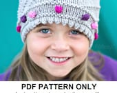 Slouchy Hat Knitting Pattern - Gray Slouchy Hat Pattern - the JO Hat (Newborn Baby Toddler Child & Adult sizes incl'd)