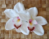 Pin up double white and pink orchid hair flower rockabilly vintage style 40s 50s wedding bride very detailed real touch