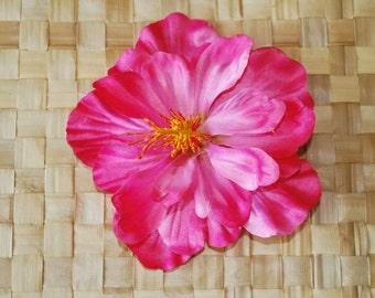 Rockabilly pin up hawaiian single hibiscus flower in pink hairflower fascinator tiki vintage retro 50s wedding