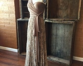 Newport Coast Mocha- Vintage Style Octopus Infinity Wrap Dress- Wedding Gown, Bridesmaids, Maternity, Etc.