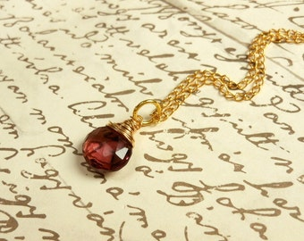 Plum Quartz Briolette Necklace Wirewrapped with 14K Gold wire and 14k Gold Chain,AAA Quality Briolette