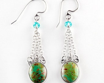 Turquoise Waterfall Sterling Silver Earrings