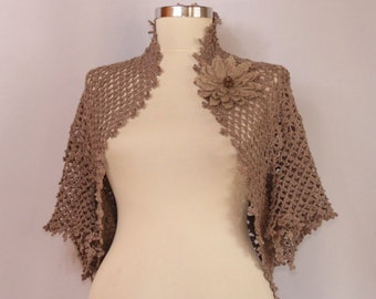Crochet Shrug, Lace Bolero, Wedding Shrug, Bridal Shrug Bolero Jacket, Linen Champagne Lace Shrug, Flower Brooch&Crystal Swarovski S M L