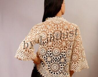 Crochet Lace Cardigan, Ivory Beige Cardigan, Sweater, Crochet Shrug Ivory Bridal Shrug Bolero, Boho Style, Lace Jacket, Crochet Cover Up