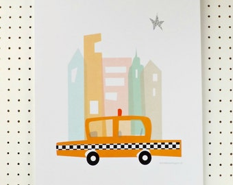 Yellow Taxi Cab Childrens Art Print New York City A3 Poster