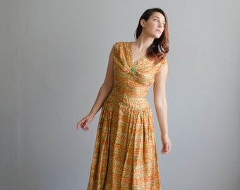 Vintage 1950s Silk Dress - 50s Dress - Ripe for Picking Dress