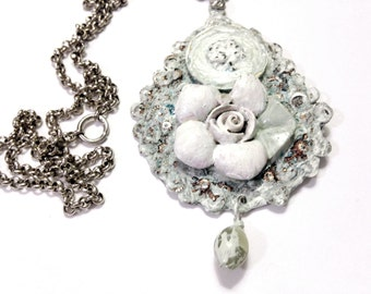 Shabby Chic Medallion Necklace, Hand-Painted, Mixed-Media, Handmade Jewelry on Etsy, OOAK, Unique, Birthday, Special Ocassion, Chain 15 1/2L