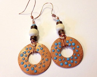 "Pure Copper Donut Earrings for Women, 3 3/8"" Drop, Handmade Etsy, Unique Gift, Chevron Carved Bone, Ghana antique Turquoise Beads, Birthday"