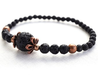 Summer Party Gift Black Lava Bracelet Copper Flower Bracelet Santorini Black Lava Stone Bracelet Flower Rings Natural Stone Bracelet Tribal