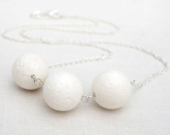 White Coral Necklace. Sterling Silver Chain. Modern Minimalist Simple Necklace. Large Natural Sponge Coral Beads