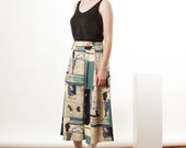 Abstract Midi Skirt / Earth Tones Light Pleated Skirt / Vintage Summer Skirt