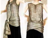 Rare 1920s Lamé Blouse. Gold Silk Metal with printed pattern.