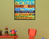 PLAYROOM RULES, Wall art for Children, 16x20 PRINT, Art for Playroom or classroom