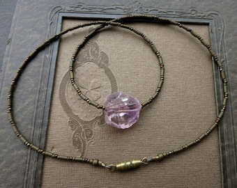 Rough Amethyst Crystal Necklace, rustic dainty Bohemian purple gemstone beaded February birthstone jewelry