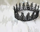 "Black Lace Crown - ""Party Princess"" - fairy tale, gothic, macabre, dark, renaissance"
