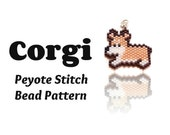Welsh Corgi Bead Pattern, Bead Weaving Jewelry Supply, Peyote Stitch