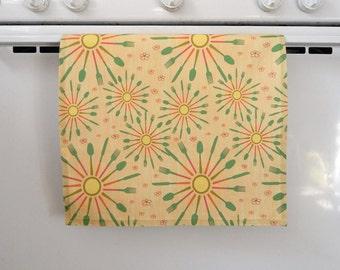 Mid Century Modern Starburst Utensils Kitchen Tea Towel or Wall Hanging