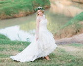 Country Wedding Dress with Lace High Low Hem - The Guinevere Dress