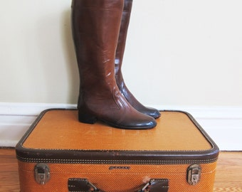 Vintage 1960s Brown Rubber Boots / 60s Knee High Boots with Fleece Lining / Size 8