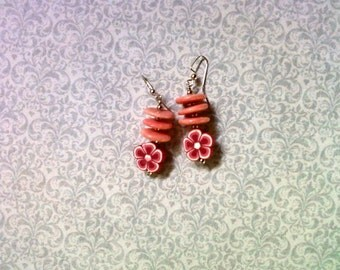 Pink Flower Earrings (2191)