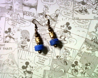 Royal Blue and Brass Earrings (2213)