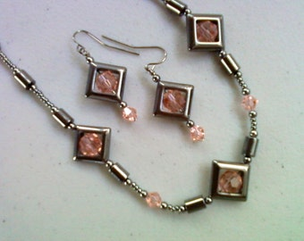 Black Hematite and Pink Crystal Necklace and Earrings (0090)