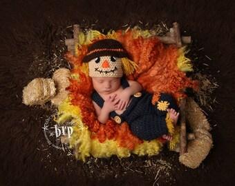 Newborn Scarecrow Photo Prop/ Baby Photo Prop/ Boy Photo Prop/  Crochet Scarecrow Hat/ Halloween Costume for Newborn Fall Photo Prop