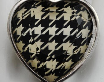 Houndstooth Heart Ring/Black/White/Statement Ring/Gift For Her/ Gift/Bold/Under 15 USD/Adjustable