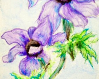 Purple Flower ACEO, Small Format Art, ACEO Original, Lavender Floral Painting, Watercolor Pencil