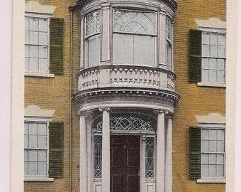 Salem Massachusetts Postcard Safford Porch 1817 - Linen Vintage Postcard MA - Massachusetts Historic Federal Architecture