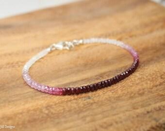 Ruby Ombre Bracelet, Moonstone, Ruby Jewelry, July Birthstone. Gemstone Bracelet