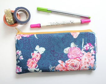 pencil pouch -- midnight flora
