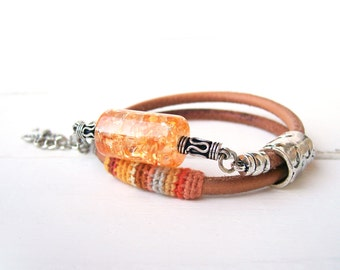 Orange Palette Bracelet Heavenly Sunset, Crochet and Leather Wrap Bracelet Resin Bead, African Bracelet Color Inspiration